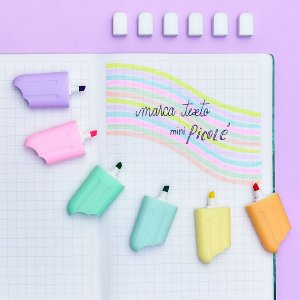 Caneta Marca Texto Mini Picolé Tom Pastel 6 cores