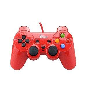 Controle Feir Dualshock 2 Com Fio Vermelho - PS2