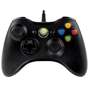 Controle Microsoft Preto Com Fio - Xbox 360