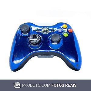 Controle Microsoft Azul Cromado Sem Fio - Xbox 360
