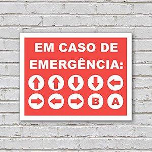 Placa de Parede Decorativa: Em Caso de Emergência