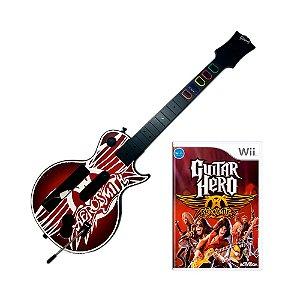 Jogo Guitar Hero: Aerosmith + Guitarra - Wii