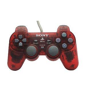 Controle Sony Dualshock 1 Vermelho Transparente - PS1
