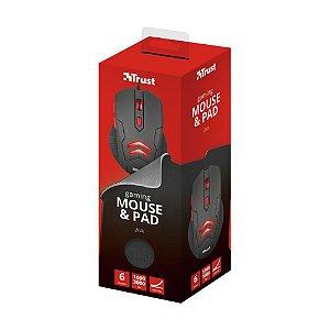 Kit Gamer Trust Mouse Ziva 3000dpi com fio e Mousepad - Trust