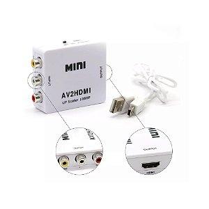 Mini Conversor Adaptador Rca Para Hdmi 720p 1080p AV2HDMI