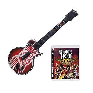 Jogo Guitar Hero: Aerosmith + Guitarra - PS3