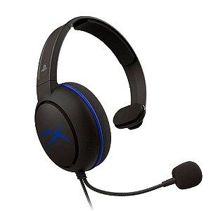 Headset Gamer HyperX Cloud Chat Preto e Azul com fio - PS4