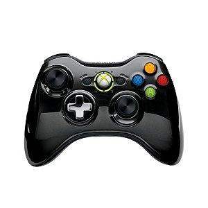 Controle Microsoft Preto Cromado sem fio - Xbox 360