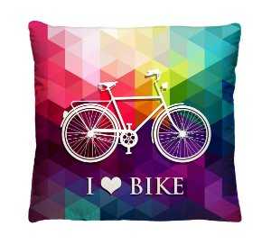 Almofada + Capa 40cm x 40cm Microfibra Estampada Com Imagem de Bicicleta Ref. A227
