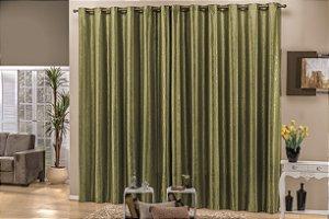 Cortina Semi Blackout Jacquard Verde 3,00m X 2,70m Para Varão Simples Diplomata