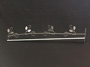 Dossel 85cm X 20cm Reto Romano Folhas Prata Para Cama De Solteiro - Casal - Queen - King
