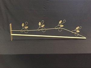 Dossel 85cm X 20cm Reto Romano Folhas Dourado Para Cama De Solteiro - Casal - Queen - King