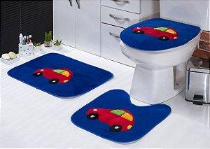 Jogo de Banheiro Padrão em Pelúcia Fusca 3 PEÇAS Tecido Superior: 100% Acrílico Base: 100% Poliéster Emborrachado: 100% E.V.A