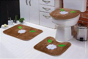 Jogo de Banheiro Padrão em Pelúcia Margarida 3 PEÇAS Tecido Superior: 100% Acrílico Base: 100% Poliéster Emborrachado: 100% E.V.A