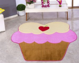 Tapete Em Formato De Cupcake Tamanho BIG 1,17m x 1,27m Pelúcia Com Fundo Emborrachado E.V.A.