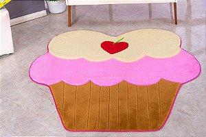 Tapete Em Formato De Cupcake Tamanho PADRÃO 74cm x 80cm Pelúcia Com Fundo Emborrachado E.V.A.