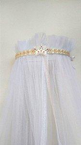 Dossel Coroa Largo Branco Decorado Com Pérolas Palha E Pink Para Quarto De Bebê