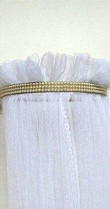Dossel Dourado Largo Decorado Pérolas + Véu Mosquiteiro Em Tecido Filó
