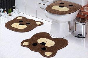 Jogo de Banheiro em Pelúcia - URSO 3 PEÇAS Tecido Superior: 100% Acrílico Base: 100% Poliéster