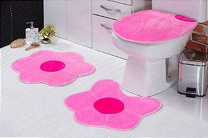 Jogo de Banheiro em Pelúcia - Margarida 3 PEÇAS Tecido Superior: 100% Acrílico Base: 100% Poliéster