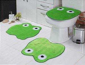 Jogo de Banheiro em Pelúcia - Sapo 3 PEÇAS Tecido Superior: 100% Acrílico Base: 100% Poliéster