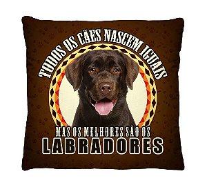 Almofada + Capa 40cm x 40cm Microfibra Com Estampa Do Cachorro Labrador Ref. A387
