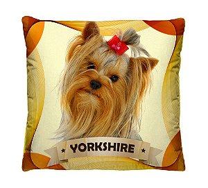 Almofada + Capa 40cm x 40cm Microfibra Com Estampa Do Cachorro Yorkshire Ref. A395