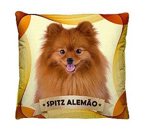 Almofada + Capa 40cm x 40cm Microfibra Com Estampa Do Cachorro Spitz Alemão Ref. A399