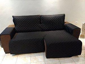 Protetor Para Sofá De 02 Módulos Microfibra Matelado Retrátil Reclinável Com Assento De 1,90M