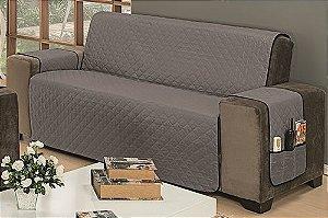 Protetor Para Sofá De 03 Lugares Impermeável Matelado Microfibra Dupla Face Cinza Com Preto