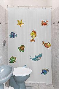 Cortina Box Para Banheiro Estampada 100% PVC Clean Com Kit Instalação
