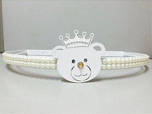 Dossel Urso Branco Com Pérolas + Véu Mosquiteiro Em Tecido Tule