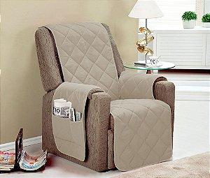 Protetor De Sofá Com Viés Matelado Microfibra Lú Para Poltrona Com Assento De 70cm