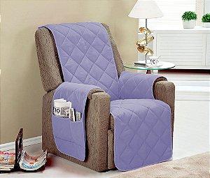 Protetor De Sofá Com Viés Matelado Microfibra Lú Para Poltrona Com Assento De 80cm