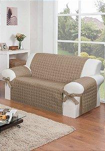 Protetor Para Sofá De 02 Lugares Com Assento De 1,30m Lú Matelado Microfibra Com Laços No Braço E Fitas De Fixação No Encosto
