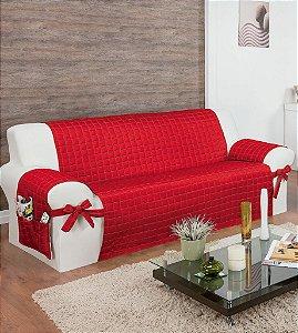 Protetor Para Sofá De 03 Lugares Com Assento De 1,40m Lú Matelado Microfibra Com Laços No Braço E Fitas De Fixação No Encosto