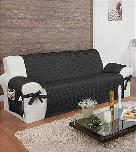 Protetor Para Sofá De 04 Lugares Com Assento De 2,00m Lú Matelado Microfibra Com Laços No Braço E Fitas De Fixação No Encosto