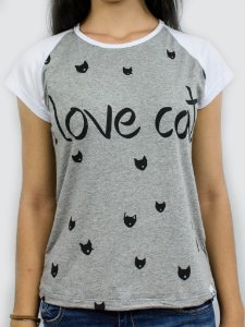 Baby look  I love cats 1150 mescla/branca