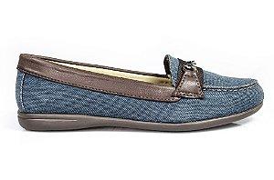 Sapato Mocassim Amarílis Azul/marrom