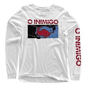 "O Inimigo ""Cobra"" Camiseta Manga Longa Branca"