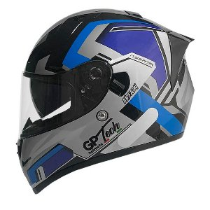 Capacete GP Tech V128 Fusion Brilhante Preto e Azul