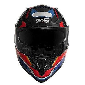 Capacete GP Tech V128 Fusion Brilhante Vermelho, Azul e Branco