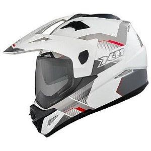 Capacete Crossover Branco Vermelho Cinza X11