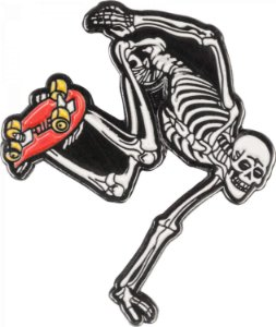 PIN POWELL PERALTA SKATEBOARDING SKELETON RED