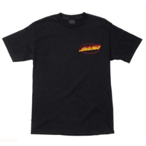 CAMISETA SANTA CRUZ TUBULAR OVAL FLAME BLACK