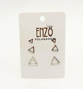 Cartela Com 3 Pares De Brincos Triângulos Vazados Prateados - REF: PT0418
