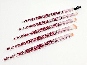 Pincel Para Maquiagem Com Cabo Fino - Glitter Rosa