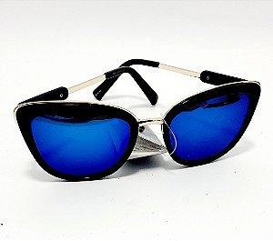 Óculos De Sol  Adulto Com Armação Em Acetato Preto - Gatinho