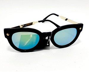 Óculos De Sol Adulto Com Armação Em Acetato Redondo - Preto