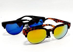 Óculos De Sol Adulto Com Armação Em Acetato Lente Espelhada - Colorido